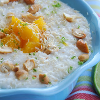Coconut and Lime Rice Pudding with Mangoes and Cashews.