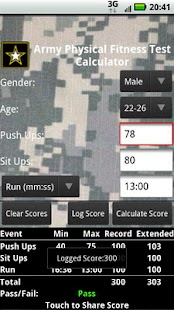 APFT Calculator w/ Score Log - screenshot thumbnail