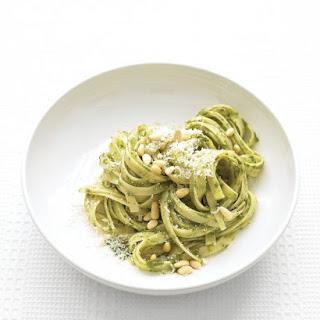Fettuccine with Spinach Pesto.