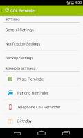 Screenshot of COL Reminder
