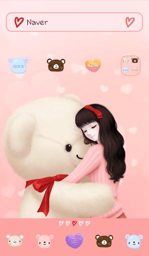 lovely girl hug dodol theme
