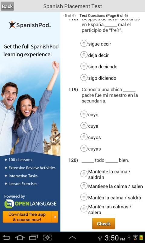 Spanish Placement Test- screenshot