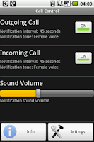 Screenshot of Call Control