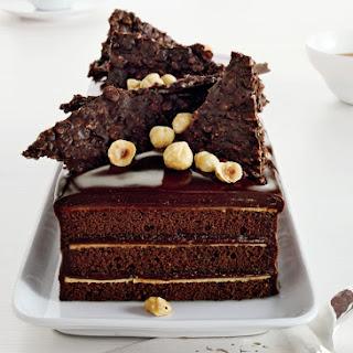Chocolate Hazelnut Cake with Praline Chocolate Crunch.