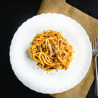 Tuna Pasta with Sun Dried Tomato Pesto.