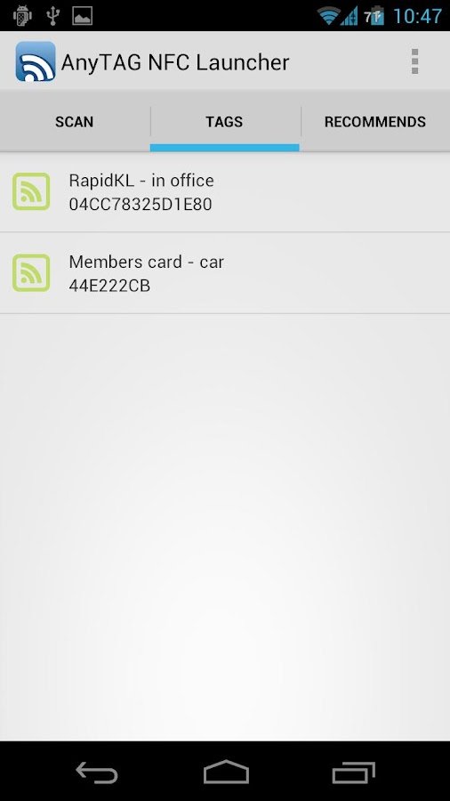AnyTAG NFC Launcher- screenshot