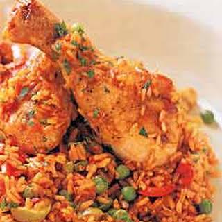 Spanish-Style Chicken with Saffron Rice (Arroz con Pollo).