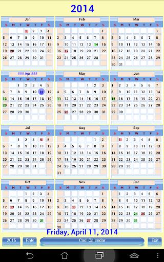 US Calendar 2014 2015