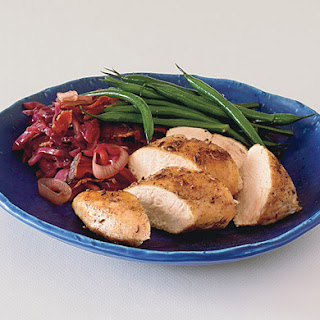Caraway Chicken Breasts with Sweet-and-Sour Red Cabbage.