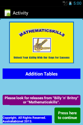 Addition Tables Free