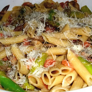 Penne with Asparagus and Mushrooms.