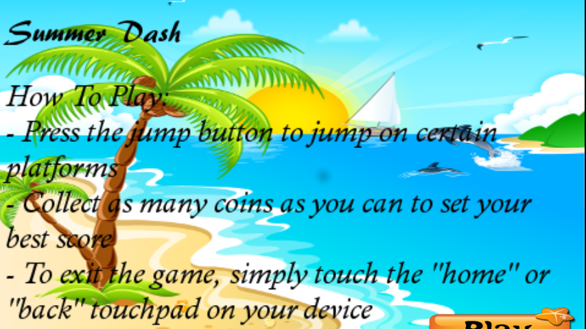 Summer Dash Android App Game- screenshot