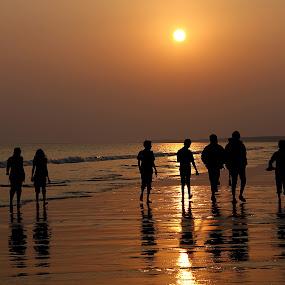 Beach Walk~~ by Kamelia Dandapat - Landscapes Beaches ( sea beach, west bengal, sunset, sea, winter solstice, silhouetes, people, walk, sun, golden,  )