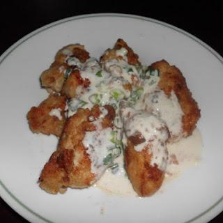 Oriental Fried Chicken with Scallion Cream Sauce.