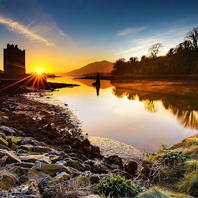 Narrow Water Castle by Leslie Hanthorne - Landscapes Waterscapes