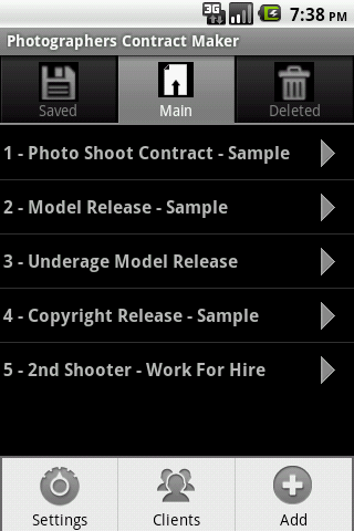 Photographers Contract Maker - screenshot