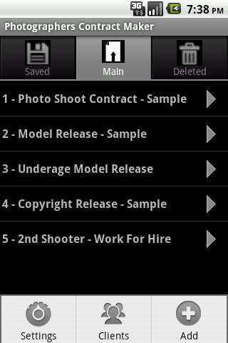 Photographers Contract Maker - screenshot