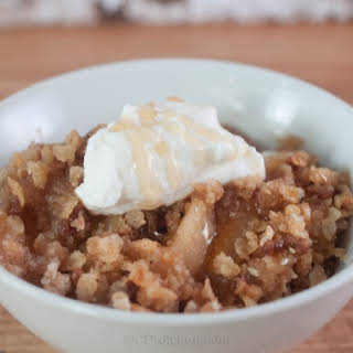 Slow Cooker Apple Cobbler Topped With Fruit and Nut Cereal.