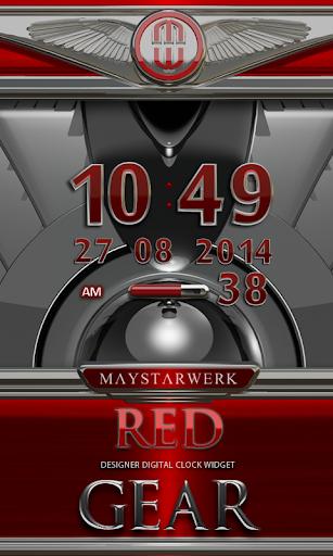 Digi Clock Widget Red Gear