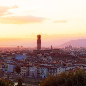 Sunlight in Florence by Ivano L - City,  Street & Park  Skylines ( tuscany, pontevecchio, toscana, sunlight, santa maria del fiore, palazzo vecchio, florence, afternooon, sunset, firenze, italy, arno, campanile di giotto )