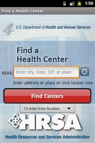 Find a Health Center- screenshot