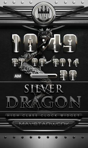 dragon digital clock silver