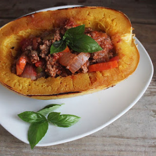 Spaghetti Squash Boats with Homemade Meat Sauce.