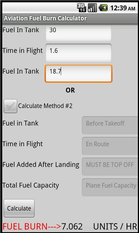 Aviation Fuel Burn Calculator- screenshot