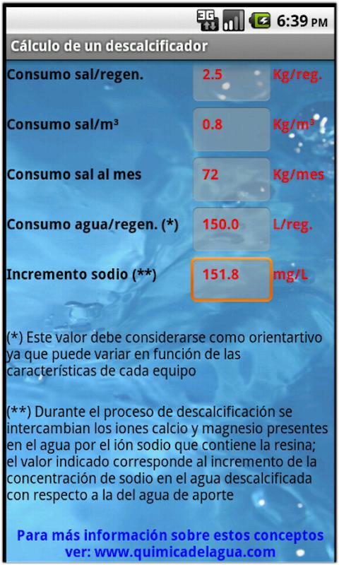 Cálculo de un descalcificador- screenshot
