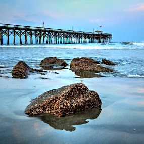 Sunset at Pawleys Island Pier by Cathie Crow - Buildings & Architecture Bridges & Suspended Structures ( piers, nature, hdr, sunset photography, sunset, ocean, hdr photography )