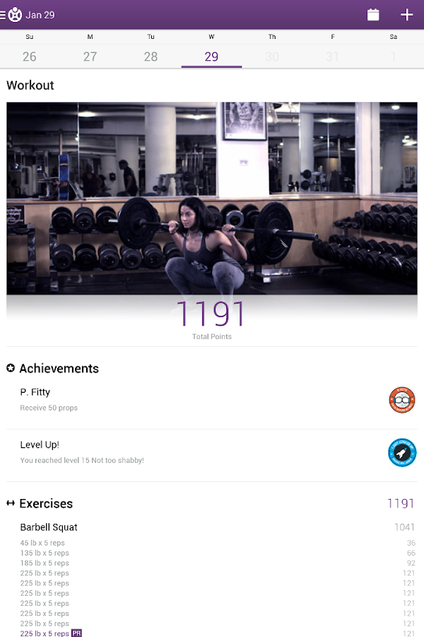 Fitocracy Workout Fitness Log – Screenshot