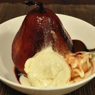 Pears Poached in Red Wine, Cardamom and Orange