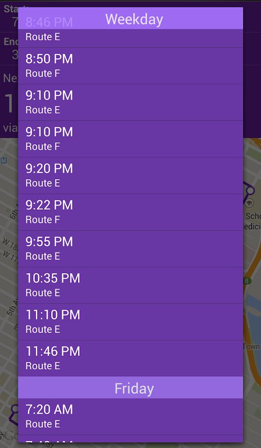 NYU Bus Tracker- screenshot