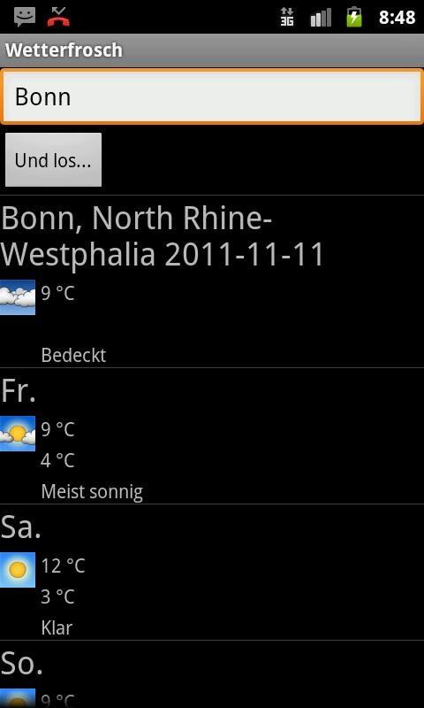 Wetterfrosch - screenshot