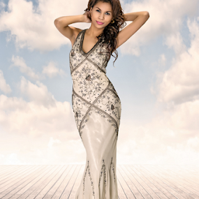 Dream by David Lawrence - People Fashion ( clouds, s curve, jacky, dream, dress, scene, gown, dock,  )