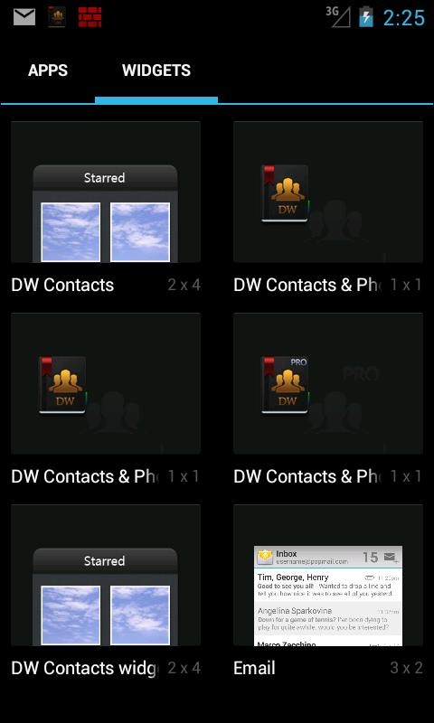 DW Contacts widget - screenshot