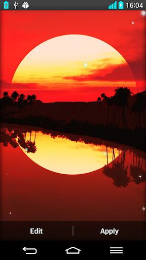 夕陽的動態壁紙