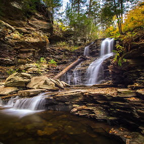 Shawnee Falls by Michael Sharp - Landscapes Waterscapes ( water, luzerne county, pa, fall, fall foliage, waterfall, pennsylvania, united states, shawnee falls 30', ricketts glen state park )