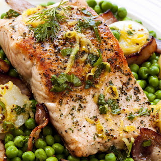 Lemon And Herb Roasted Salmon With Potatoes.