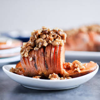 Cinnamon Sugar Hasselback Sweet Potatoes with Oatmeal Cookie Crumble.
