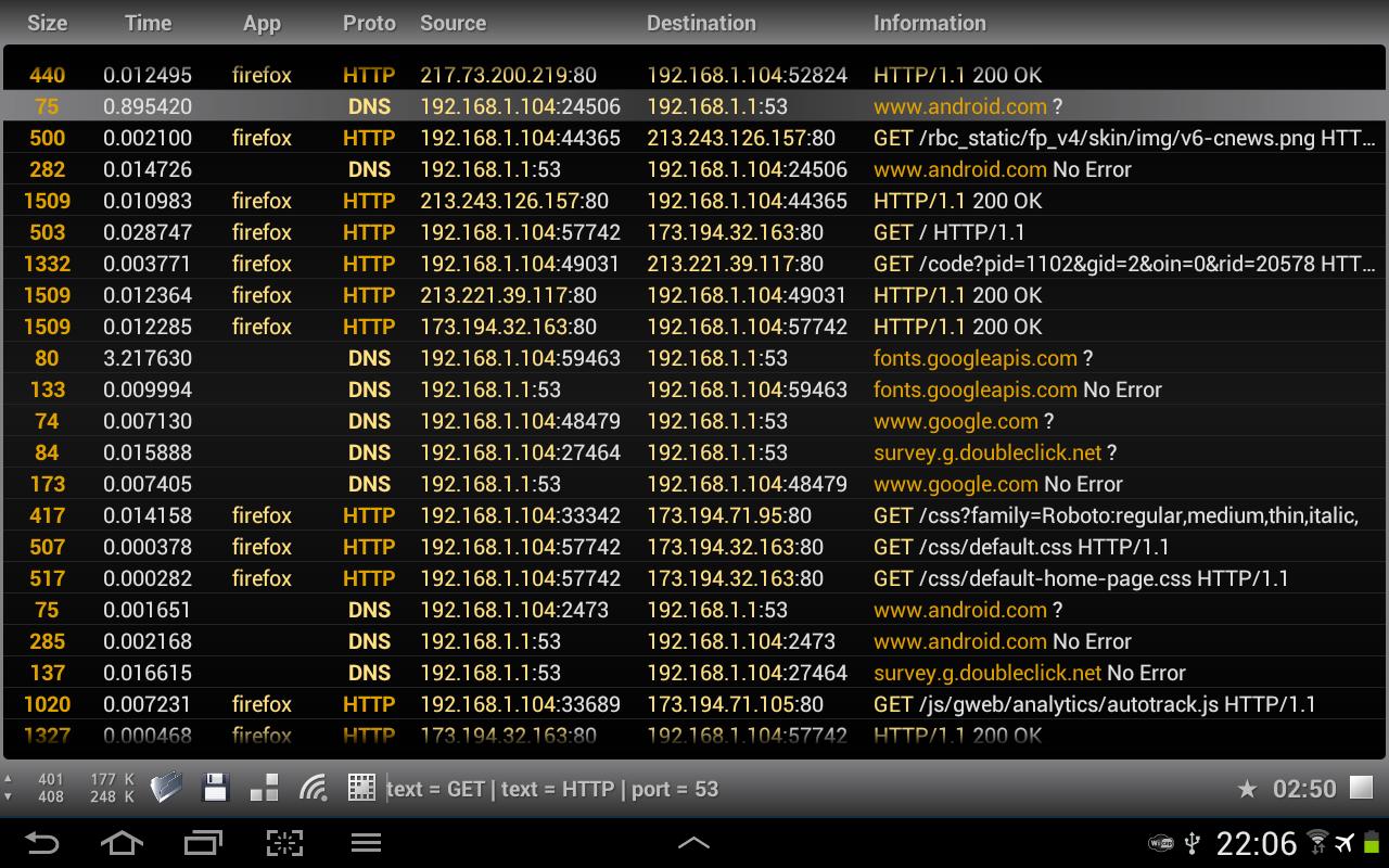 Wi.cap. Network sniffer Pro - screenshot