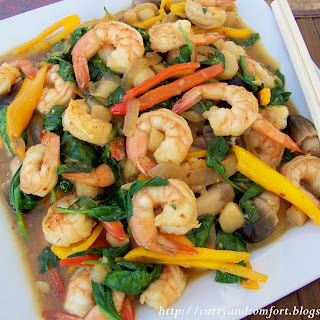 Asian Shrimp and Spinach Stir Fry.