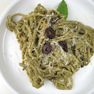 Roasted-Almond Ricotta Pesto with Olives
