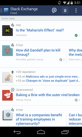 Screenshot 0 for Stack Exchange's Android app'
