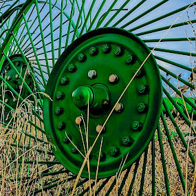 The Green Machine by Barbara Brock - Artistic Objects Industrial Objects ( industrial equipment, green, farm equipment, machinery in the field,  )