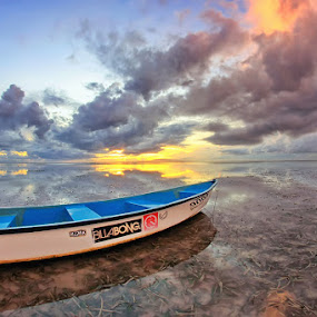 The Boat by Arya Satriawan - Landscapes Sunsets & Sunrises ( water, clouds, reflection, waterscape, beach, boat, landscape, sky, nature, national geographic, color, long exposure, sunrise )