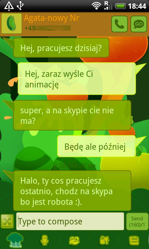 GO SMS Pro Veggie Hearts Theme - screenshot