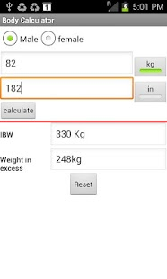 Optimal Weight calculator - screenshot thumbnail