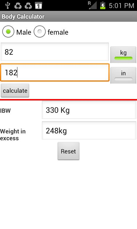Optimal Weight calculator - screenshot