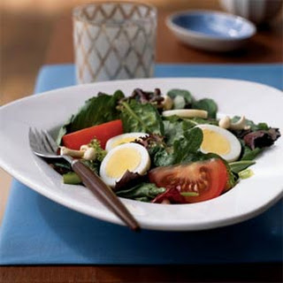 Field Greens with Eggs and Enoki Mushrooms Recipe